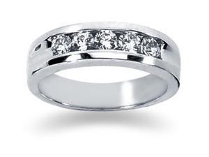 0.5 ctw. Men's Round  Diamond Wedding Band in 14K White Gold