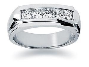 1 ctw. Men's Princess Diamond Wedding Band in 18K White Gold