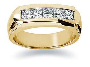 1 ctw. Men's Princess Diamond Wedding Band in 18K Yellow Gold