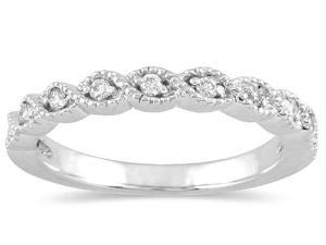 1/6 Carat Diamond Wedding Band in 10K White Gold