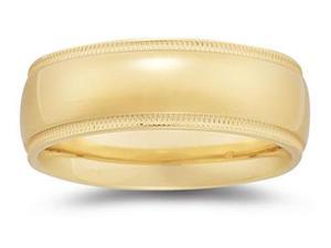 8 mm Milgrain Edge Comfort-Fit Wedding Band in 14k Yellow Gold