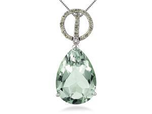 11.25 Carat Pear Shape Green Amethyst Peridot and Diamond Pendant in .925 Sterling Silver