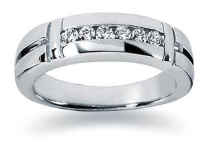0.28 ctw. Men's Round  Diamond Wedding Band in 14K White Gold