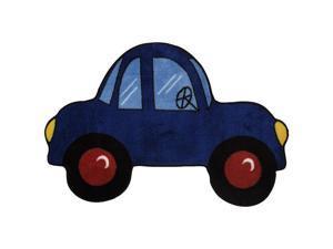 """Blue Car Area Rug - 2' 7"""" x 3' 11"""""""