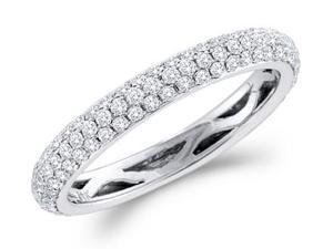 Diamond Wedding Ring 14k White Gold Bridal Anniversary Band (3/4 CT)