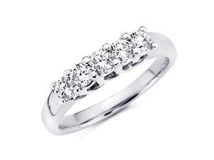 Five Stone Round Diamond Wedding Band 14k White Gold Ring (1/3 Carat)