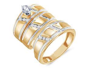 Trio Diamond Rings Bridal Set Engagement Wedding Yellow Gold .25ct