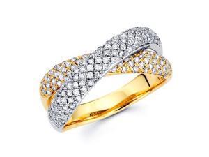 Diamond Anniversary Ring 14k Multi-Tone Gold Fashion Band (0.86 Carat)