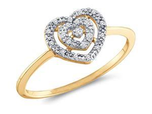 Heart Diamond Ring Fashion Band 10k Yellow Gold (0.04 Carat)