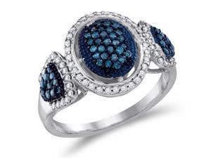 Aqua Blue Diamond Anniversary Ring 10k White Gold (1/2 Carat)