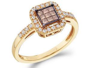 Champagne Brown Diamond Ring 14k Yellow Gold Anniversary (1/3 Carat)