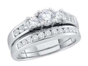 Three Stone Diamond Engagement Wedding Rings 14k White Gold (1.00 CT)