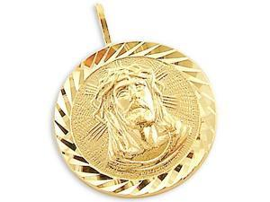 Jesus Face Coin Pendant 14k Yellow Gold  Round Charm
