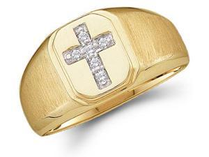 Mens Diamond Cross Ring 10k Yellow Gold Anniversary Band Religious