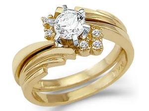CZ Engagement Rings Bridal Wedding Set 14k Yellow Gold (1.00 Carat)