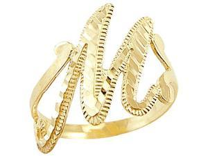M Letter In Ring Letter Ring M Initial Band 14k