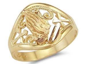 Praying Hands Ring Cross 14k Yellow Gold Band Religious
