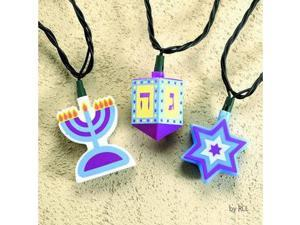 Set of 10 Star of David, Dreidel & Menorah Chanukah Holiday Lights - Green Wire