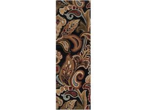 2.5' x 8' Tahitian Lily Sepia Brown and Maroon Red Wool Area Throw Runner Rug