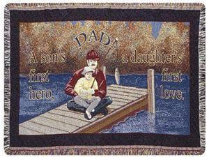 """Dad"" & Son Father's Day Fishing Afghan Throw Blanket 40"" x 50"""