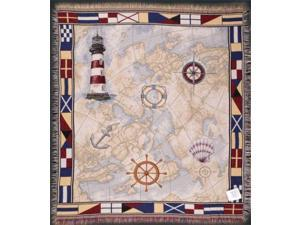 """Nautical Theme Lighthouse Map Anchor Flags Tapestry Throw Blanket 50"""" x 60"""""""