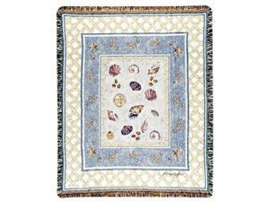 "Beach Accents Colorful Seashell Collage Tapestry Throw Blanket 50"" x 60"""