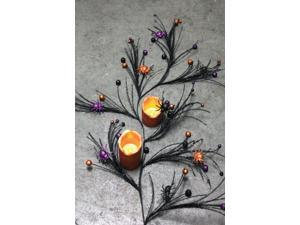 "56"" Black Glittered Spikey Halloween Garland"