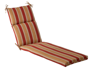 Outdoor Patio Furniture Chaise Lounge Cushion - Red & Khaki Stripe