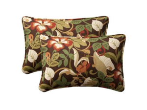"Pack of 2 Outdoor Patio Furniture Rectangular Throw Pillows 24.5"" - Floral Cafe"