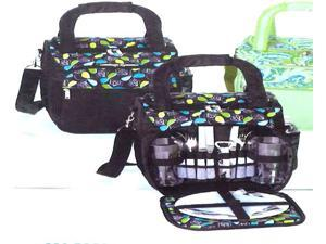 15-Piece Stylish Shoulder Tote Picnic Set for 2 - Whisk Me Away Black Floral