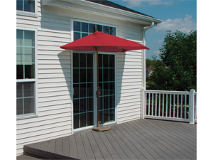 7.5' Half Canopy Patio Market Umbrella: Red - Olefin