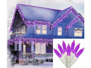 Set of 70 Purple LED M5 Twinkle Icicle Christmas Lights - White Wire