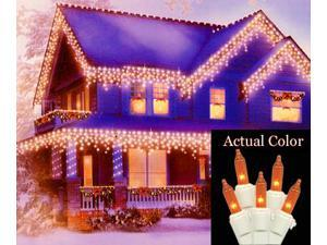 Set of 100 Amber Icicle Christmas Lights - White Wire