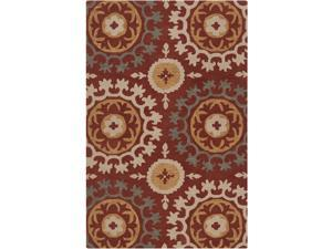 3.25' x 5.25' Spice Medallion Cinnamon, Fatigue Green and Khaki Wool Throw Rug