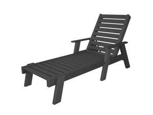 """77.25"""" Recycled Earth-Friendly Outdoor Captain's Chaise Lounge Chair - Gray"""