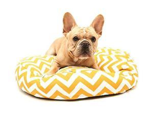 Yellow and White Chevron Printed Deluxe Round Pet Dog Bed - Small