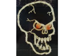 "16"" Lighted Halloween Spooky Skull For Window or Yard Silhouette Decoration"