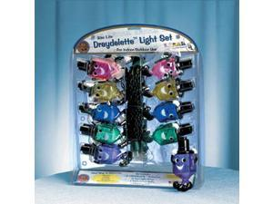 Set of 10 Draydelette Multi-Color Dreidel Chanukah String Lights - Green Wire