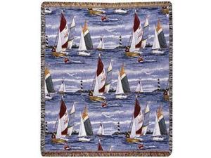 "Sailing Sailboats Regatta Tapestry Throw Blanket 50"" x 60"""