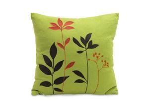 "16"" Square Lime Green Throw Pillow with Brown and Orange Botanical Stitching"