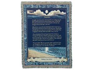"""Footprints in the Sand"" Poem & Prayer Tapestry Throw Blanket 50"" x 70"""