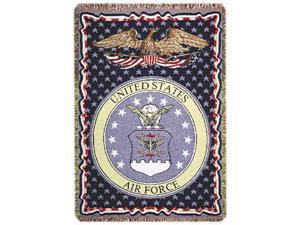 "U.S. Air Force Insignia 3 Layer Afghan Throw Blanket 50"" x 70"""