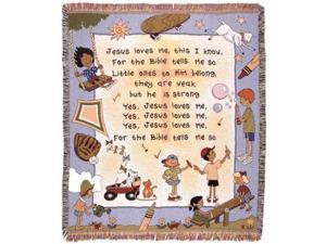 "Kids ""Jesus Loves Me"" Song Religious Tapestry Throw Blanket 50"" x 60"""