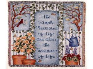 "Simple Pleasures Life's Treasures Tapestry Throw Blanket 50"" x 60"""