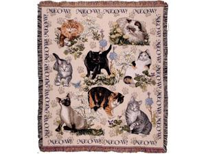 "Meow Mix Playful Cat Collage Tapestry Throw 50"" x 60"""