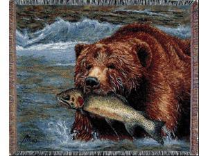 "Grizzly Bear & Fish River Tapestry Throw Blanket 50"" x 60"""