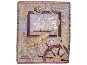 "Sailing Sailboat Nautical Tapestry Throw 50"" x 60"""