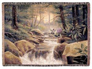 """Colors of Dawn"" Waterfall Forest Rocks Tapestry Throw Blanket 60"" x 70"""