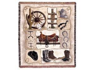 "Western Horse Gear ""Saddle Up"" Tapestry Throw 50"" x 60"""