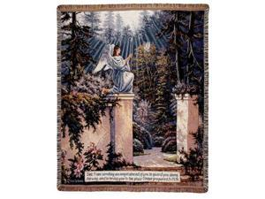 "Guardian Angel In Garden Tapestry Throw 50"" x 60"""